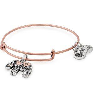 Alex and Ani Two Tone Elephant Bangle Bracelet